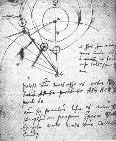 Brahe's notes with observations of the 1577 comet.