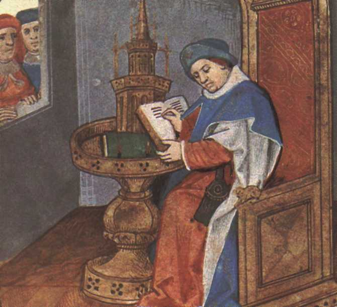 Miniature from a manuscript of the Roman de la Rose (Oxford, Bodleian Library, Douce 195), folio 1r, portrait of Guillaume de Lorris.