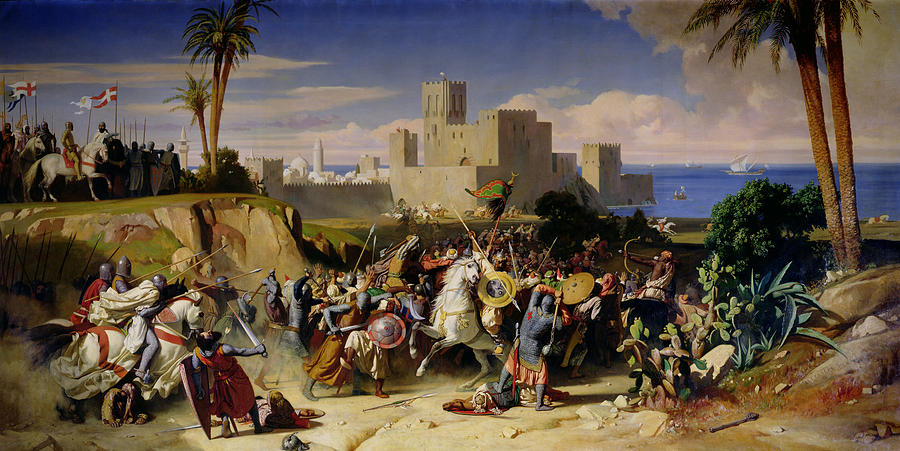 A painting of crusaders fighting locals with the Mediterranean and buildings in the background.